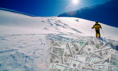 skiing-on-money